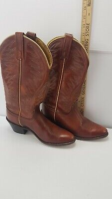 VTG WOMENS ACME COWBOY LEATHER BROWN BOOTS SIZE 5.5 C