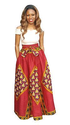 Red African Print Diamond High Waist Maxi Skirt (Diamond Skirt)