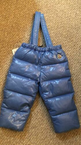 New Moncler Kids Down Overall Winter Outerwear Blue Size 12-18 month