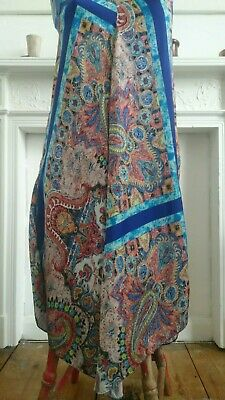 Zara Summer Dress Indian Vintage Style Silky Tunic Paisley x Small 8/10