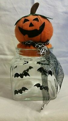 Jack O'Lantern candy jar, Halloween, glass, - Glass Jar Halloween Lanterns