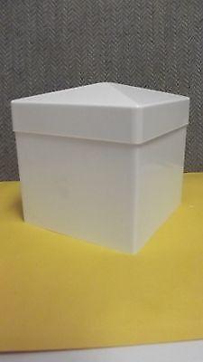 5x5 PVC Fence Post Flat Pyramid Horse Caps Tops Vinyl White 5 x 5 (6pc) USA