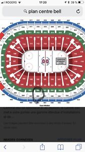 Billets  ticket 302 A central CANADIENS MONTREAL a partager COST