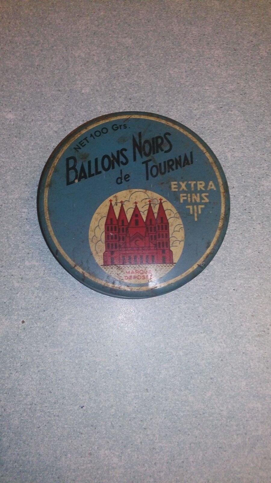 """Ancienne boîte en métal """"Ballons noirs de Tournai"""""""