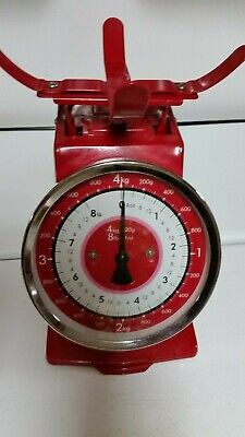 TYPHOON 8 LB CHERRY RED FOOD WEIGHT SCALE VTG. STYLE KITCHEN