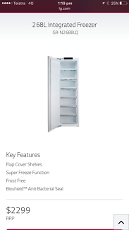 LG 268L upright fully integrated freezer