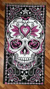 Large Paisley Sugar Skull Soft Bath Beach Towel Biker Gift #1004