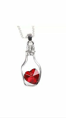 (Glass Wishing Bottle Pendant loving heart Crystal Necklace red USA Seller)