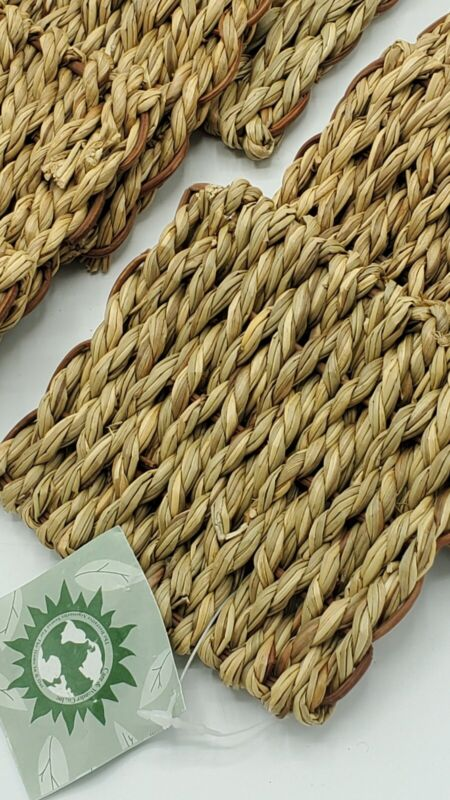 Set Of 8 Wicker Rattan Bamboo Coasters 4.25 X 4.5 Inches