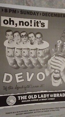 DEVO   Brady Theater Tulsa OK Concert Poster 1982 MINT
