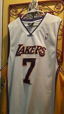 Adidas Lamar Odom Los Angeles Lakers #7 NBA White sewn Jersey size 60