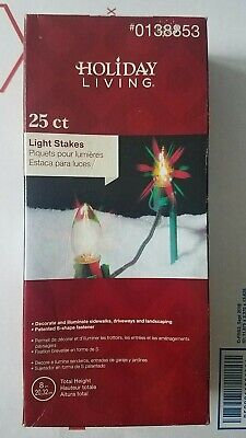 New Box Of 25 Christmas Light Universal Yard Stakes 8in #0138853