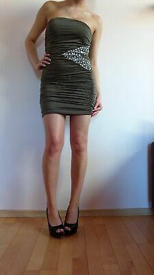 Vintage Khaki (Tally Weijl Kleid khaki schlamm Strass Bandeau Sexy 34 XS vintage blogger)