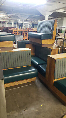 Restaurant Oak Green Leather Booths 6 Family