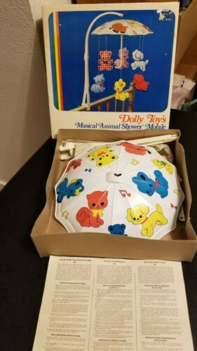 VTG Complete Musical Nursery Mobile #603 Dolly Toy 1971 Gingham Animals Umbrella