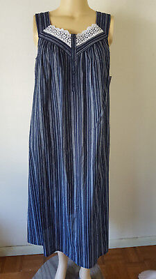 Blue Nightgown (NWT Womens Nightgown Sleeveless Woven 100% Cotton Croft & Barrow Blue Stripe )