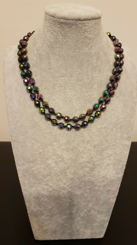 Vintage 2 Strand AB Crystal Peacock Glass Beaded Necklace