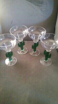 Margarita Glasses. Green Cactus Stemmed plastic. Set of 4 clear glasses. 8 - Margarita Glasses Plastic