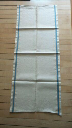 "Antique Linen Kitchen Hand Towel BLUE & YELLOW STRIPE SIDES 46""X17-1/2"" Unhemmed"