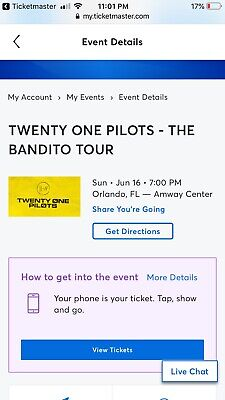 Twenty One Pilots Orlando Concert Tickets Instant 4 Tickets 6/16/19
