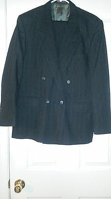 Mens STAFFORD All Season Black Pinstripe 2pc Suit 42S 34X38 Flat Front for sale  Modesto