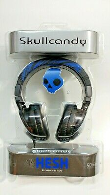 Skullcandy Hesh Headphones Black Blue stripe DJ 2 over ear headset 50mm bass