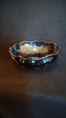 "Imperial Glass Smoke Blue Peacock Carnival  8"" Bowl"