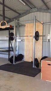 CrossFit rig, 150kg of bumper plates, bench, dumb bells plus more