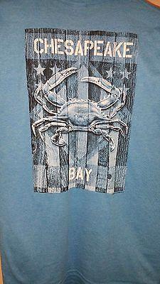New CHESAPEAKE BAY  MARYLAND  FLAG  T  SHIRT BLUE MARYLAND CRAB ()