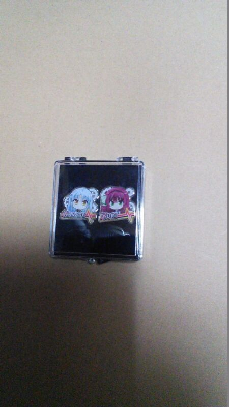 Angel beats! small two pin badge Yuri and Tenshi Kanade Tachibana