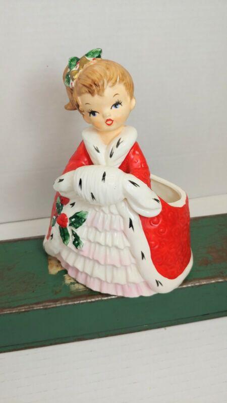 Napco Christmas Girl Planter Vintage Ceramic 1950s