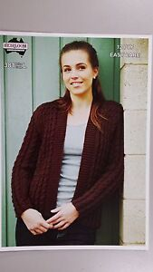 Heirloom Knitting Pattern #381 Ladies Cable Cardigan to Knit in 12 Ply