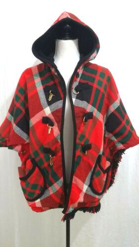 Vintage Plaid Cape Poncho 70s Hooded Pockets One Size Reversible to Black