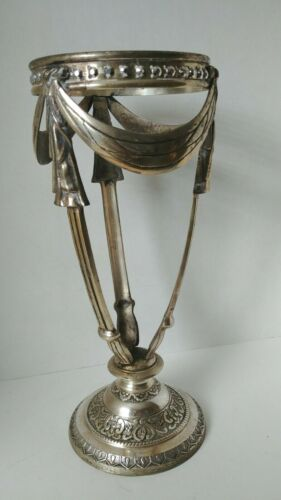 """Silver Plated Stand for Trumpet Vase or Miracle Ball Orb 15"""" Tall"""