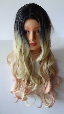 Costume Cosplay Wig Long Curly Wavy Three Tone Wigs Blonde Pink Highlights Ombre (Pink Costume Wigs)