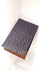 Golf-Scorecard-Yardage-book-Holder-Genuine-Ostrich-Black-or-Nicotine-Brown