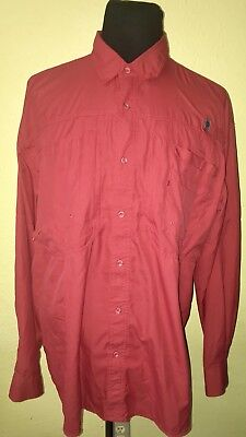 93954bfc MENS REEL LEGENDS LONG SLEEVE BUTTON UP VENTED RED FISHING SHIRT XXL~EXC  COND