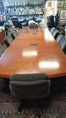 Rectangle Conference E-table High Quality 15 Ft X 4.8 Ft With 10 Fabric Chairs