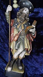 Hl. Jakobus Pilger Holzfigur 68cm Südtirol? Heiligenfigur geschnitzt Jakobsweg