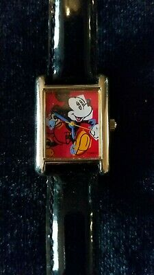 DISNEY_VINTAGE_SEIKO by LORUS_MICKEY MOUSE_SILVERTONE WATCH_& BLACK LEATHER BAND