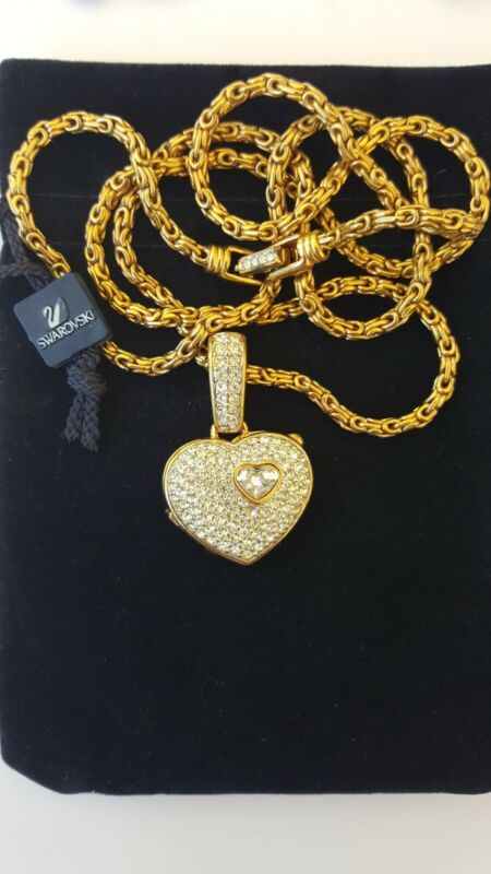 Swarovski Swan Signed Gold Tone Clear Crystals Heart Necklace NICE