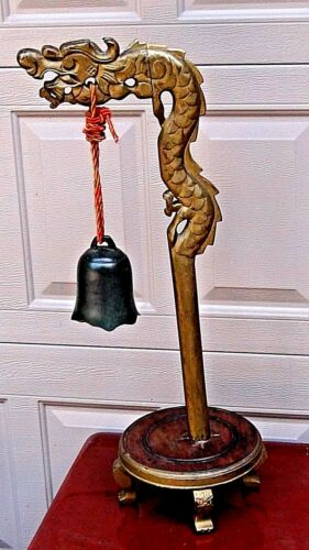 ANTIQUE 19c CHINESE BRONZE ARCHAISTIC BELL ON WOOD DRAGON CARVED STAND
