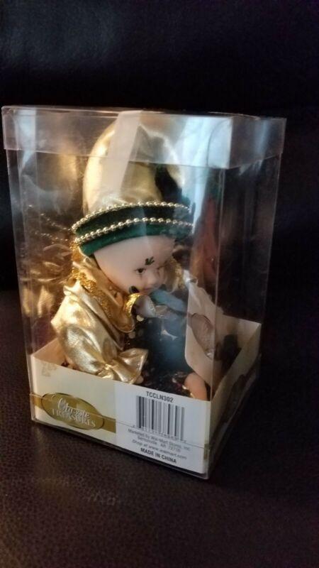 Classic Treasures Carletta Clown Jester Doll Porcelain Velvet Metallic Clothing