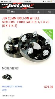 JJR 20MM BOLT-ON WHEEL SPACERS - FORD FALCON 1/2 X 20 (5 X 114.3)