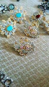 Eid jewellery special Crystal diamond studs with real gems
