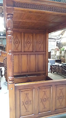 Reproduction Mahogany Carved CanopyTudor Style 4 Poster 5' King Bed Brand New