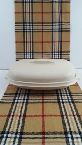 Tupperware vintage 1273 Almond Microwave Oval Steamer Tray Lid 3pc Rice Fish Veg