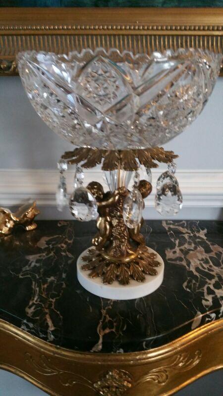 Antique Crystal Brass Marble Compote Pedestal Bowl Cut Glass Prism Centerpiece