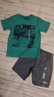 Naartjie Kids 6 Boys Surfer Beach Teal Shirt Top Crazy Squares Twill Shorts NWT