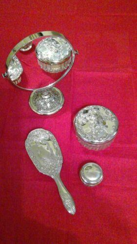 Vintage Silver Plated Vanity Items set of 4 - Mirror, brush, & vanity jars